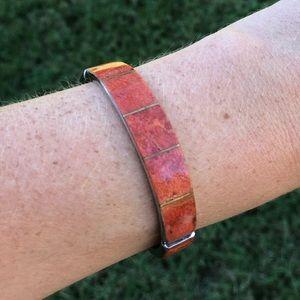 Orange coral cuff bracelet